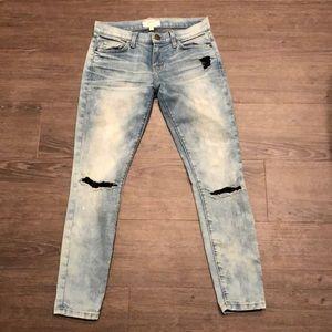 Current/Elliott faded blue skinny jeans